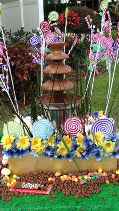 Chocolate fountain. Willy wonkas chocolate river! Stocks first birthday party