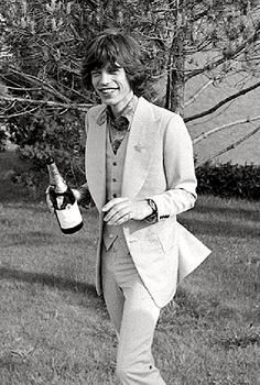 Mick Jagger on his wedding day, 1971