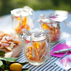 Candied Fruit Party Favors Party Type: Summer party Send partygoers home with something sweet: candied citrus peel. The bright, tangy fruit looks adorable when packed in mini glass jars and tied with a bow. Bonus: The cute favors double as decor -- set them atop your party table for a pretty pop of color.
