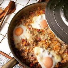 oeufs au chorizo et patate douce dans la sauteuse