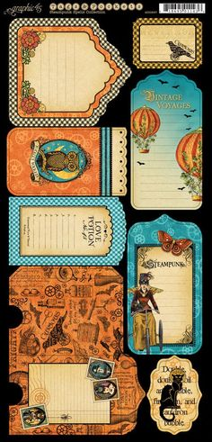 Cardstock Tags & Pockets 1 from our new collection Steampunk Spells! #graphic45 #steampunk #sneakpeeks