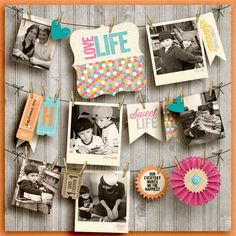 What an adorable idea for a layout!! Love the clotheslines w/photos hanging from them.