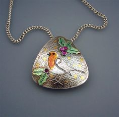 Handmade Silver and Enamel Robin Redbreast by JoyFunnellEtsy, £170.00