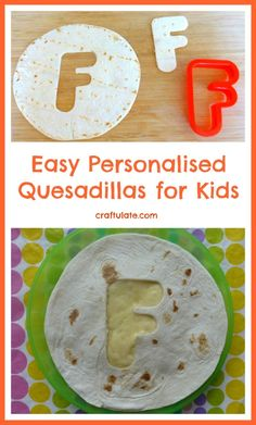These quesadillas for kids are given a personalised touch - by adding their initial to the top tortilla! Cooking Kits For Kids, Cooking With Kids Easy, Cooking Ideas, Food Ideas, Lunch Snacks, Healthy Snacks, Lunches, Preschool Snacks, Toddler Snacks