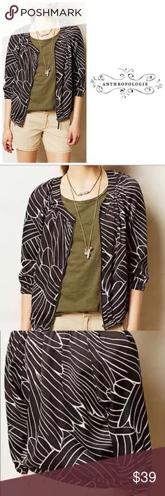 Anthropologie Aroha Zip Cropped B&W Jacket Hei Hei Black and White jacket with front zip and cropped length. Looks adorable as casual ware or can be dressed up for business attire. Love this piece! So versatile. Excellent condition. Anthropologie Jackets & Coats