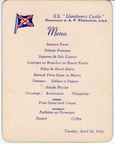Llandovery Castle menu 1952. Steam Boats, Menu Design, Ephemera, Invite, Cruise, Wedding Invitations, Castle, Ships, Ocean
