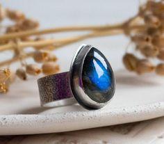 Blue stone ring Labradorite ring Simple blue stone ring 8 1/2