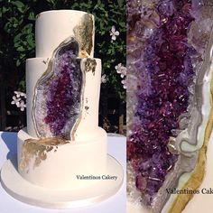 Amethyst geode wedding cake - fits well with purple and gold theme! Fondant Wedding Cakes, Fondant Cakes, Wedding Cake Toppers, Cupcake Cakes, Wedding Cookies, Geode Wedding Cakes, Cake Wedding, Pretty Cakes, Cute Cakes