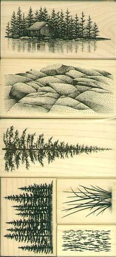 """Stampscapes stamps: """"Lakeside Cabin,"""" """"Ledge,"""" """"Pine,"""" """"Pine Row,"""" """"Reeds Lg."""" and """"Water Pattern Sm."""""""