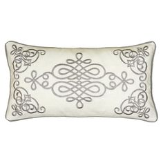 Bring a pop of style with this chic cotton pillow, featuring an embroidered scrolling motif and piped edging. Product: Pillow Construction Material: Cotton cover Color: Ivory Features: Insert included Embroidered accents Piped edging Dimensions: x Blue Pillows, Accent Pillows, Throw Pillows, Decorative Items, Decorative Pillows, Condo Decorating, Hearth And Home, Bolster Pillow, Elements Of Design