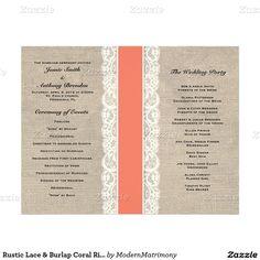"Rustic Lace & Burlap Coral Ribbon Wedding Program 8.5"" X 11"" Flyer"