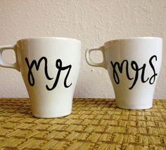 Custom Coffee Mugs  Pick a word or name  Hand by FizzyArtist, $32.00