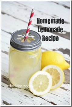 Homemade Lemonade Recipe from AllRecipes  Ingredients:  1 1/2 cups white sugar  8-9 cups water {more or less for a sweet or tart taste}  1 1/2 cups lemon juice from freshly squeezed lemons.  Tip: Soak your lemons in hot water for 10 minutes to release the juice.