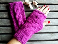 Knitted Gloves, Crochet, Purple Violets, Gloves, Mittens, Hand Warmer, Winter Gloves, Hair Braiding, Women gloves, Arm Warmers, Gift Ideas by YASEMINYASEMIN on Etsy
