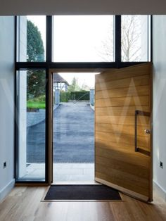 Large wooden door with glass surrounds