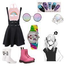 """Summer Daze"" by kalyn-parkhurst on Polyvore featuring Dr. Martens, Sunday Somewhere, Hello Kitty and Yeah Bunny"