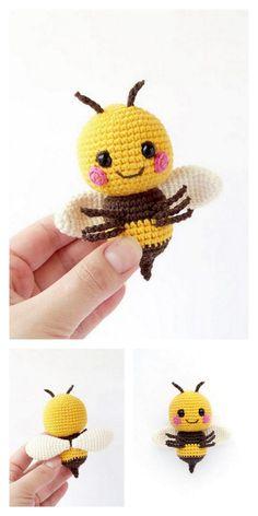 Crochet Mignon, Crochet Bee, Crochet Amigurumi Free Patterns, Crochet Animal Patterns, Stuffed Animal Patterns, Cute Crochet, Crochet Crafts, Crochet Projects, Knitting Patterns