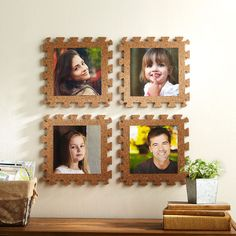 Create an interesting display for your wall with these DIY Cork Puzzle Picture Wall Décor
