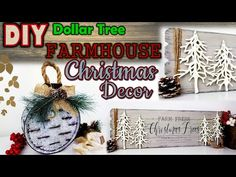 Today I will be showing you how you can transform these items into trend in Dollar Tree in beautiful farmhouse decor f. Farmhouse Christmas Decor, Outdoor Christmas Decorations, Rustic Christmas, White Christmas, Christmas Crafts, Christmas Ornaments, Christmas Ideas, Winter Decorations, Dollar Tree Decor
