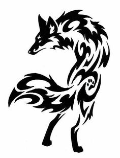 Tribal wolf More Tribal Tattoos, Tribal Wolf Tattoo, Tribal Tattoo Designs, Wolf Tattoos, Body Art Tattoos, Celtic Tattoos, Fox Tattoo Men, Sleeve Tattoos, Lobo Tribal