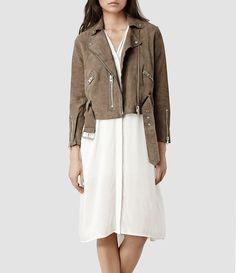 Womens Hind Leather Biker Jacket (PALE) | ALLSAINTS.com