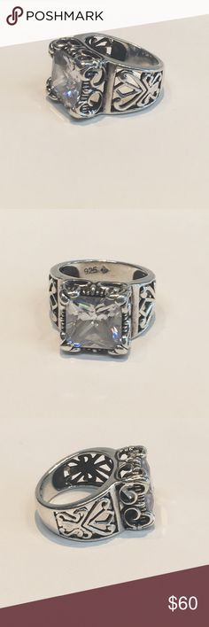 Silpada Sterling silver square cz ring Silpada square cz Sterling silver ring with filigree accents . It is hallmarked with the silpada arrows 925 and is a size 5 . Is pre-owned and is in good condition . Silpada Jewelry Rings