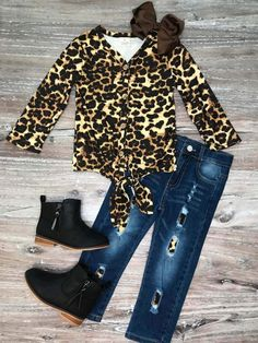 Cheetah Tie Top Denim Set is a must have for this season! Tie top cheetah shirt with adjustable waist denim pants. So adorable, so affordable. Cute Outfits For Kids, Toddler Outfits, Toddler Fashion, Kids Fashion, Fashion Ideas, Women's Fashion, Short Outfits, Fall Outfits, Cozy Outfits