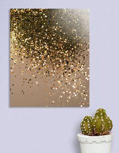 3d Canvas Art, Canvas Art Projects, Diy Canvas, Glitter Wall Art, Glitter Canvas, Diy Wall Art, Diy Art, Painted Leaves, Gold Art