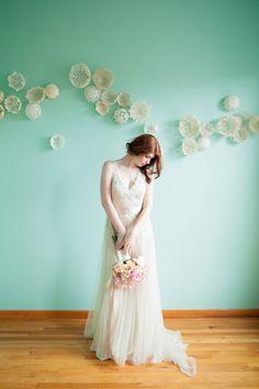 nude and aqua wedding inspiration