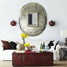 Wisteria - Mirrors & Wall Decor - Mirrors - All Mirrors - Antiqued Peacock Mirror Thumbnail 1 Peacock Mirror, Asian Interior, Interior Styling, Traditional Furniture, Contemporary Interior, Interior Inspiration, Color Inspiration, Decoration, Living Room Designs