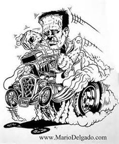 Johnny Ace Original Art Rat Fink Monster Ed Big Daddy Roth Chopper Rat Fink Coloring Pages