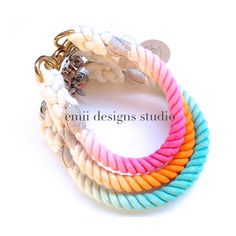 Ombre Rope Dog Collar Non Choke Collar by EmiiDesignsStudio