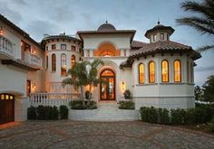 Florida Style House Plans - 7890 Square Foot Home, 2 Story, 5 Bedroom and 5 3 Bath, 3 Garage Stalls by Monster House Plans - Plan 81-135