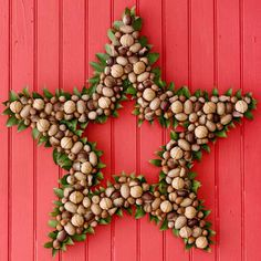 Star shaped Nut Christmas wreath from bhg.com