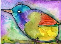 """""""Buster"""" watercolor ATC by Bonnie Tincup"""