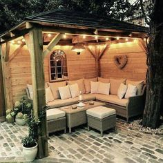 how your backyard and patio can become places that you can enjoy year round. By adding a patio in the backyard, the house becomes very comfortable Backyard Seating, Small Backyard Gardens, Backyard Patio Designs, Small Backyard Landscaping, Garden Seating, Pergola Designs, Diy Patio, Deck Design, Backyard Ideas