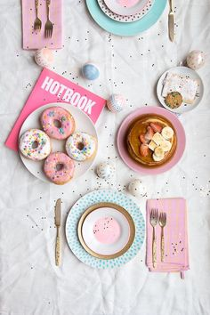 Pretty Breakfast | Foodie | Doughnuts | Sprinkle Donuts | Food Styling | Art Direction | Glitter | Pink and Blue Silverware