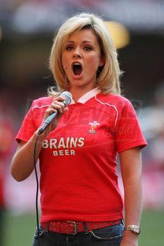 Belting it out! - Katherine Jenkins singing the Welsh National Anthem before a Wales-Australia International Rugby Match. Welsh National Anthem, Welsh Words, British And Irish Lions, International Rugby, Jane Davies, Wales Rugby, Katherine Jenkins, Visit Wales, Mezzo Soprano