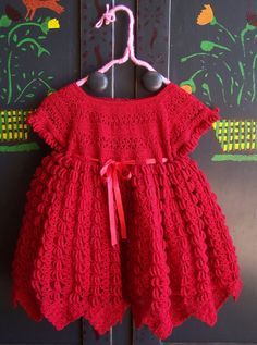 Baby Dress Crochet Red adorableness size by GreenMarketVintage, $24.00