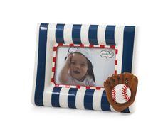 "BASEBALL FRAME Navy and white stripe ceramic frame with dimensional baseball icon. Holds 4"" x 6"" photo."