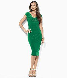 Lauren Ralph Lauren Valli Cowlneck Matte Jersey Dress #Dillards