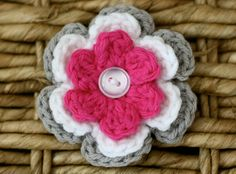 Pink and Grey Flower Hair Clip, Baby Hair Bow, Crochet Flower Clip - White, Hot Pink, Gray. $7.00, via Etsy.