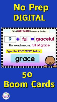This no prep, self-checking deck of 50 Digital Boom Cards gives 2nd grade and 3rd grade students practice identifying Root Words, Prefixes and Suffixes clues and meanings. includes un-, re-, and dis-, and inflectional endings, -s, -es, -ed, -ing, -er, and -est and -ion/tion/sion. Just type the Root Words in text boxes. Use with your interactive whiteboard, tablets or laptops. #boomcards #boomlearning #boomcards2ndgrade #2ndgrade #3rdgrade #TeacherFeatures #tpt #prefixes #suffixes