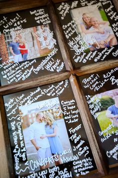 Wedding guestbook alternative idea - guest signed a window pane with framed photos of the couple {Fowler Studios}