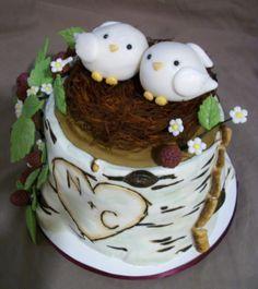 Love Bird Birch tree Bridal Shower Cake