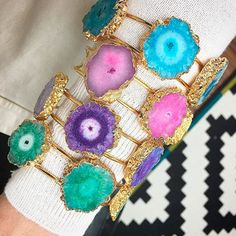 Bracelet By Vila Veloni Gold  Cuff  With Druzy Stones