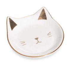 Schmuckschälchen aus weißer und vergoldeter Keramik, CAT