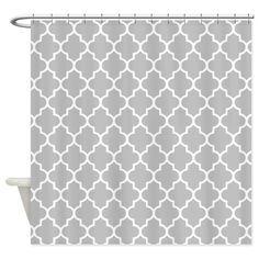 Gray Quatrefoil Shower Curtain on CafePress.com