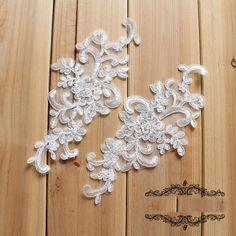 20pcs 18x11cm ivory silver bridal wedding dress lace appliques