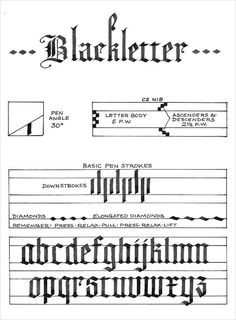 Blackletter Alphabet Calligraphy -- a basic explanation. If you are really interested in this style, check out Ward Dunham& work. Calligraphy Practice, How To Write Calligraphy, Calligraphy Handwriting, Calligraphy Letters, Typography Letters, Penmanship, Gothic Lettering, Types Of Lettering, Lettering Styles